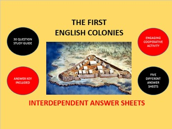The First English Colonies: Interdependent Answer Sheets Activity