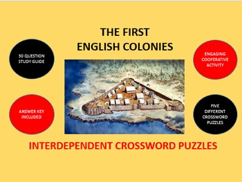 The First English Colonies: Interdependent Crossword Puzzles Activity