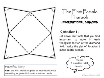 The First Female Pharaoh Informational Text Small Group Rotations w/ Homework