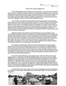 The First Great Migration (1910-1930) Handout/Worksheet