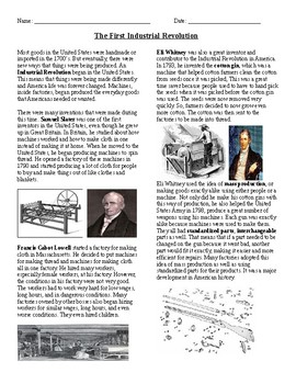 The First Industrial Revolution Reading and Questions