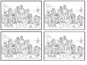 The First Landing of Mayflower Pilgrims Lead by Myles Standish coloring picture