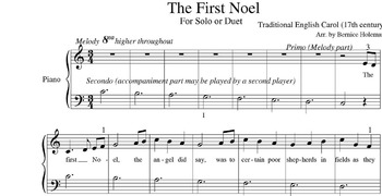 The First Noel from the Christmas Carols For The Elementary Level Piano Student