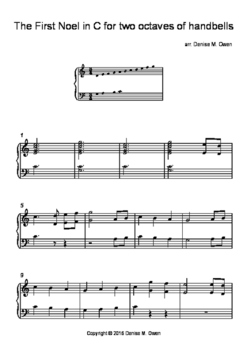 The First Noel in C for two octaves of handbells