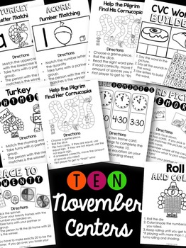 November Literacy and Math Centers