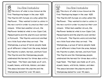 The First Thanksgiving - A Close Reading Activity