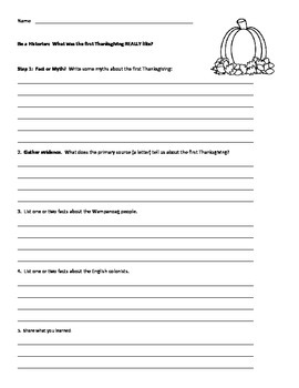 The First Thanksgiving - A historical research activity & mini-unit