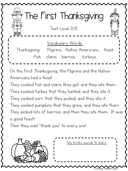 The First Thanksgiving: CCSS Aligned Leveled Reading Passages and Activities