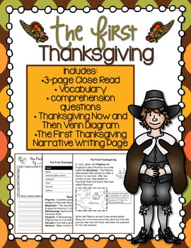 The First Thanksgiving Close Read and Writing Activity