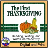Thanksgiving Activities - First Thanksgiving Fill In, Word Search, Writing Paper