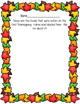 The First Thanksgiving Culminating Activities