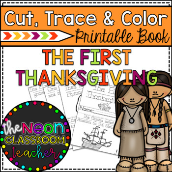 """The First Thanksgiving"" Cut, Trace & Color Printable Book"