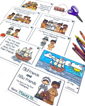 """The First Thanksgiving - Emergent Reader Booklet """"Old Friends and New Friends"""""""