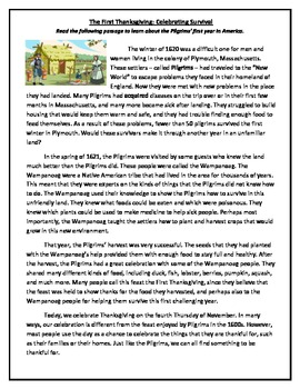 The First Thanksgiving: Informational text with Common Core-aligned questions!