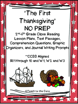 The First Thanksgiving NO PREP Close Reading Lesson Plans **CCSS Aligned