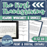 Thanksgiving: the Wampanoag & Plymouth Pilgrims Reading + Worksheets
