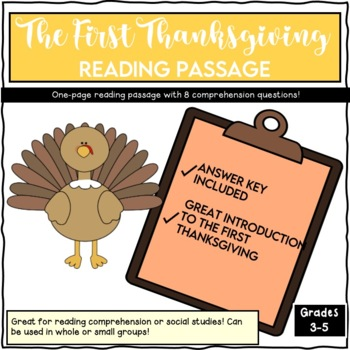 The First Thanksgiving Reading Passage and Questions