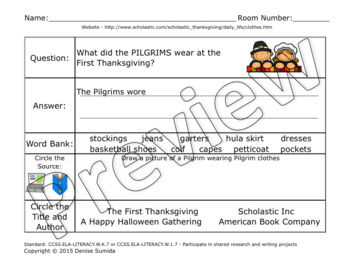 The First Thanksgiving Research Unit: Pilgrims and Native Americans