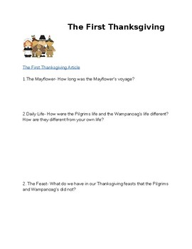 The First Thanksgiving Scholastic Activity Add-On