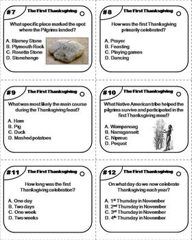The First Thanksgiving Task Cards: Pilgrims and Indians, Mayflower etc