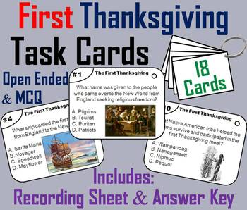 The First Thanksgiving Task Cards: Pilgrims and Indians, M