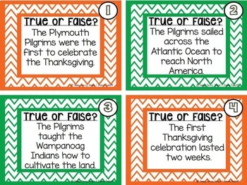 The First Thanksgiving Task Cards: True or False?