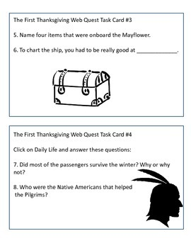 The First Thanksgiving Web Quest and Task Cards by KMediaFun