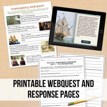 The First Thanksgiving Webquest | Digital Classroom Option Included | No Prep