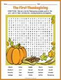 HISTORY OF THANKSGIVING Word Search Puzzle Worksheet Activity