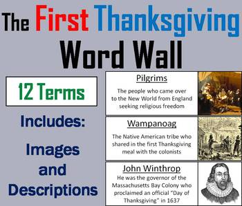 The First Thanksgiving Word Wall Cards