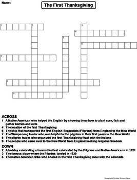picture regarding Thanksgiving Puzzles Printable titled The 1st Thanksgiving Worksheet/ Crossword Puzzle