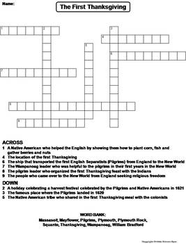 The First Thanksgiving Worksheet/ Crossword Puzzle