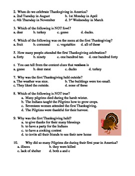 The First Thanksgiving reading comprehension