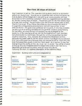 The First Twenty Days of Writers Workshop K-5