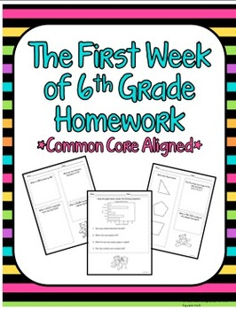 The First Week of 6th Grade Homework