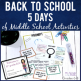 Back to School Activities for Middle School   5 days of pl