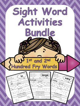 The First and Second Hundred Fry Words Sight Word Worksheets Bundle