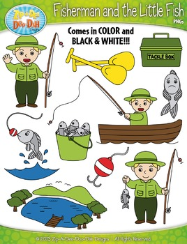 Fisherman and the Little Fish Famous Fables Clipart {Zip-A-Dee-Doo-Dah Designs}