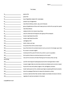 The Fishes Vocabulary Quiz or Worksheet for Zoology
