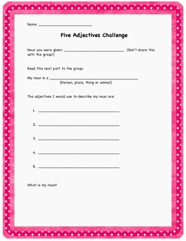 The Five Adjectives Challenge
