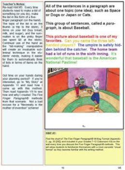 The Five Finger Paragraph and The Five Finger Essay -- Upper Elem T. Ed Sample