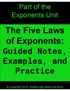 The Five Laws of Exponents Guided Notes, Examples, and Practice