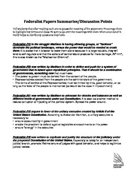 The Five Most Important Federalist Papers