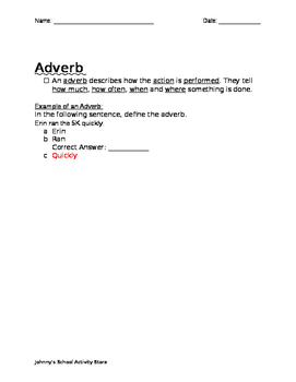 The Five Parts of Speech - Adjectives, Verbs, & Adverbs (Notes)