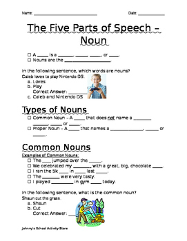 The Five Parts of Speech - Nouns (Notes)