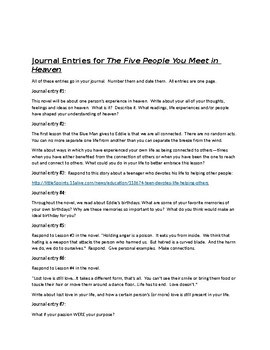 The Five People You Meet in Heaven 7 journal topics (or use for discussion)