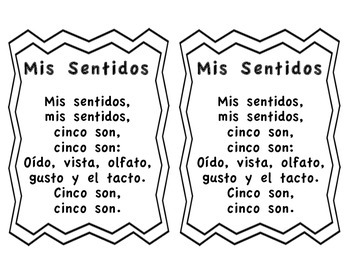 The Five Senses Spanish Song-Cancion de los cinco sentidos
