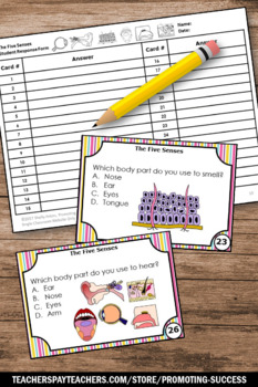 Five Senses Activities, 1st or 2nd Grade Science Task Cards