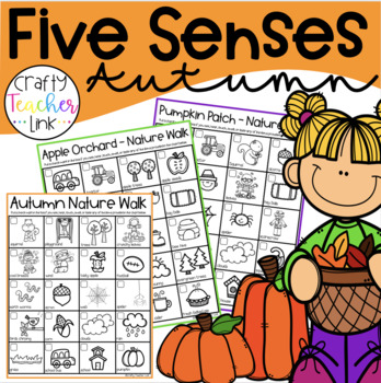 """The Five Senses of """"Fall"""" Flip book (2) and Nature Walk Lists (2)"""