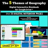 The Five Themes of Geography:  Digital Interactive Notebook for Google Classroom